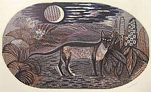 Marx, E. (1902-1998). (A cat at night). Colour linocut, 49,7x83 cm., signed