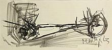 Montijn, J. (b.1924). (Abstract landscape). Drawing, charcoal, 21x46 cm., s