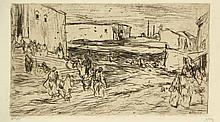 Bauer, M.A.J. (1867-1932). Buitenwijken van Stamboel. Etching, 1889, 11,3x1
