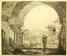 Bauer, M.A.J. (1867-1932). De ingang van een tempel te Patitana. Etching, 1