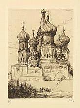 Bauer, M.A.J. (1867-1932). De Ivan Wiliki te Moskou. Etching, 1900, 19,1x13