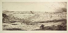 Bauer, M.A.J. (1867-1932). Jeruzalem. Etching, 1900, 33x76 cm., signed