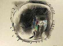Diederen, J. (1920-2009). (Face). Drawing, colour crayon, 38,5x51,8 cm., si