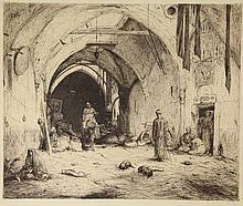 Bauer, M.A.J. (1867-1932). Een bazaar in Damascus. Etching, 1913, 57x69 cm.