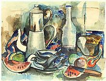 Andréa, K. (1914-2006). (Still life with fish, watermelon, a coffeepot and