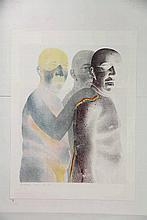 Haar, A. van de (b.1953). (Three nude men). Colour lithograph, 57,5x44,7 cm