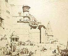 Bauer, M.A.J. (1867-1932). Benares. Large etching, 1905, 55,2x67,5 cm., sig