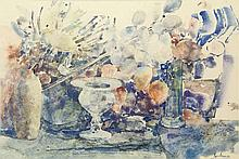 Damave, P.H. (1921-1988). (Still life with flowers and vases). Watercolour,