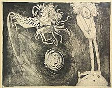 Lucebert (1924-1994). De verzoeking van de heilige Antonius. Etching, 38x40