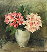 Pander-Arntzenius, E.C. (1902-1982). (Still life with rhododendrons). Oil o