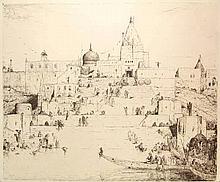 Bauer, M.A.J. (1867-1932). Een feestdag aan den Ganges. Etching, 1910, 56,8