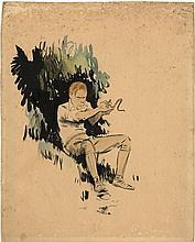 [Drawings]. Hem, P. van der (1885-1961). (Karel killing a vicious snake). Original drawing, brush an