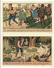 [Drawings]. Wiegman, J.P.A. (1884-1963). (De gouden gans). Two drawings, watercolour and gouache, bo