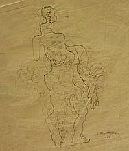 Zadkine, O. (1890-1967). (Semi-abstract standing figure). Drawing, pen and ink, 35x22,5 cm., with manuscript dedication