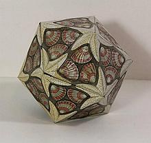 Escher, M.C. (1898-1972). Icosaeder. Enamelled tin box, 14x14x14 cm., decorated in shades of brown,
