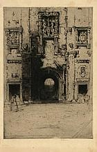 Cameron, D.Y. (1865-1945). (British gate). Etching and drypoint, 25x17 cm., signed