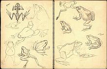 Reijers, W.L. (1910-1958). (Sketchbook). Sketchbook w. 13 lvs. w. various drawings and sketches, pen