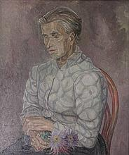 Nieweg, J. (1877-1955). (Halflength portrait of a seated elderly woman holding a bunch of asters in