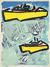 Dolk, C.W.M. (b.1945). (Two boats).  Lithograph, 76x55,5 cm., signed,