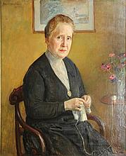 Welie, A. van (1866-1956). (Portrait of an old woman crocheting). Oil on canvas, 65x53 cm., signed