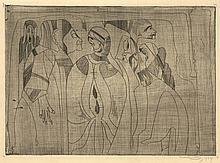 Jessurun de Mesquita, S. (1868-1944). Fantasie: diverse figuren, uiterst links een klein figuur met