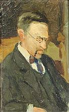 Bakker, J.A. (1891-1969) (?). (Portrait of Mr. Bryce). Oil on board, 16,5x11,5 cm., signed (?)/ anno