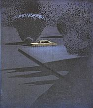 Bes, P. (b.1945). (A car in the night). Col. silkscreen, 57,5x47,5 cm., signed,