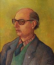 Schrikkel, L. (1902-1978). (Portrait of Arthur Lehning[?]). Oil on canvas, 60x50 cm., signed