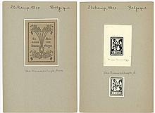 Elskamp, M. (1862-1931). Lot of ±32 ex libris and occasional graphics, all (but 4) by M. ELSKAMP, ±1