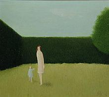 Koornstra, M.T. (1912-1978). (Garden with woman and a young girl). Oil on boards, 29x32,5 cm., monog