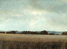 Bond, J. (b.1945). (Autumnal country view with a farm). Oil on board, 39,5x54,5 cm., signed