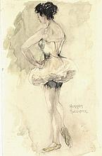 Moerkerk, H.A.J.M. (1879-1949). (A standing female ballet dancer seen on the back). Watercolour w. b