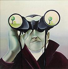 Verhoeven, R. (b.1953). Man met verrekijker. Oil on canvas, 49,5x49,5 cm., signed