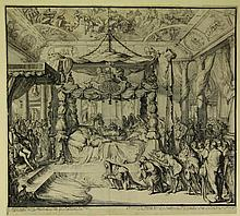 Hooghe, R. de (1645-1708). Death and Funeral of Mary Stuart Queen of England - 1695. Deathbed of the