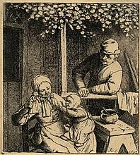 Ostade, A. van (1610-1685). The doll (La Poupée desirée). Etching, 10x8,8 cm., monogrammed and