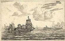 [Ships]. Nooms, R. (called Zeeman) (±1623-1667). After the battle, conquered and ravaged ships are t