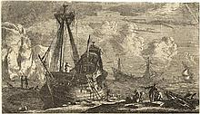 [Ships]. Nooms, R. (called Zeeman) (±1623-1667). Dismantled sailing-vessel in a rocky bay. Etching f