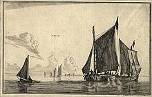 [Ships]. Nooms, R. (called Zeeman) (±1623-1667). Three sailing-vessels on calm waters. Etching from