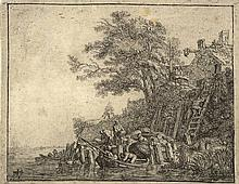 Vlieger, S.J. de (1601-1653). Men loading sheaves of grain on a boat. Etching and drypoint, 10,5x13