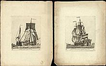 [Ships]. Groenewegen, G. (1754-1826). Lot of 11 etchings of ships, all w. etched caption and series
