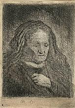 Rembrandt van Rijn (1606-1669). The artist's mother with her hand on her chest. Etching, 9,4x6,6 cm.