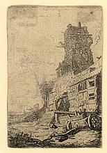 Breenbergh, B. (1599-1659). A dilapidated house. Etching, 9,6x6,4 cm. - Cut on the borderline; verti