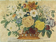 Anonymous (19th cent.). (Flowers in a basket).