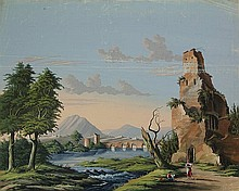 Anonymous (19th cent.). (Italianate landscape with