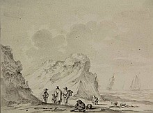 Anonymous (18th cent.). (Six men on the beach near