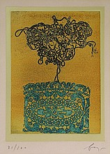 Baj, E. (1924-2003). Lady. Col. etching and