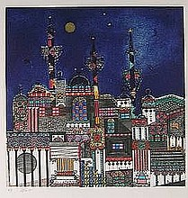 Alkara, O. (b.1939). (Fantasy city). Colour