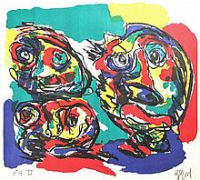 Appel, C.K. (1921-2006). (Three faces). Colour