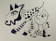 Appel, C.K. (1921-2006). Man en paard. Lithograph,