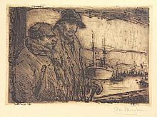 Mieghem, E. van (1875-1930). Pêcheurs au port.